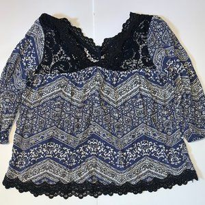 Charlotte Russe Printed Top Blouse Size 1X Crochet